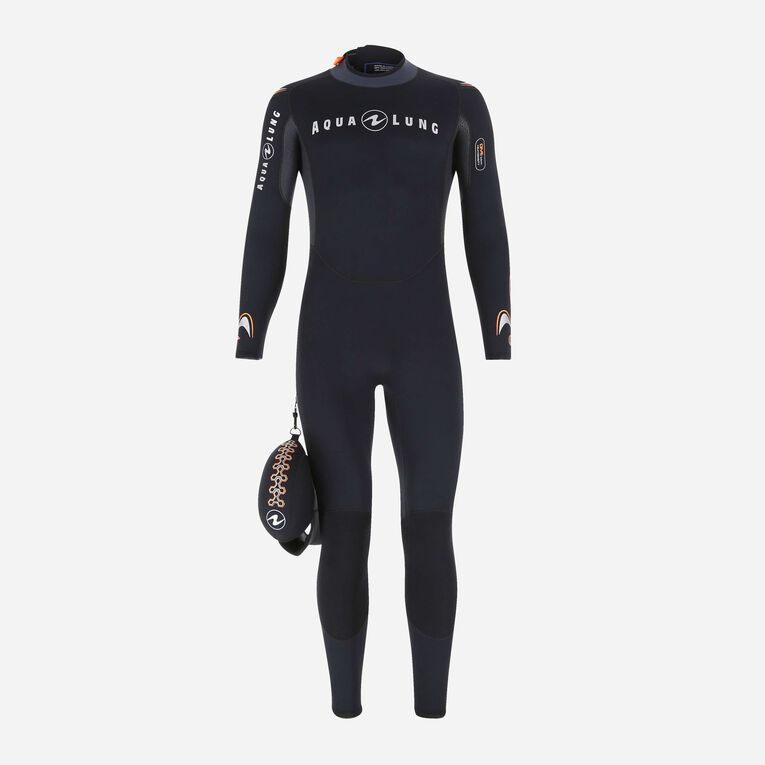 Dive 3mm Wetsuit, Black/Orange, hi-res image number 0