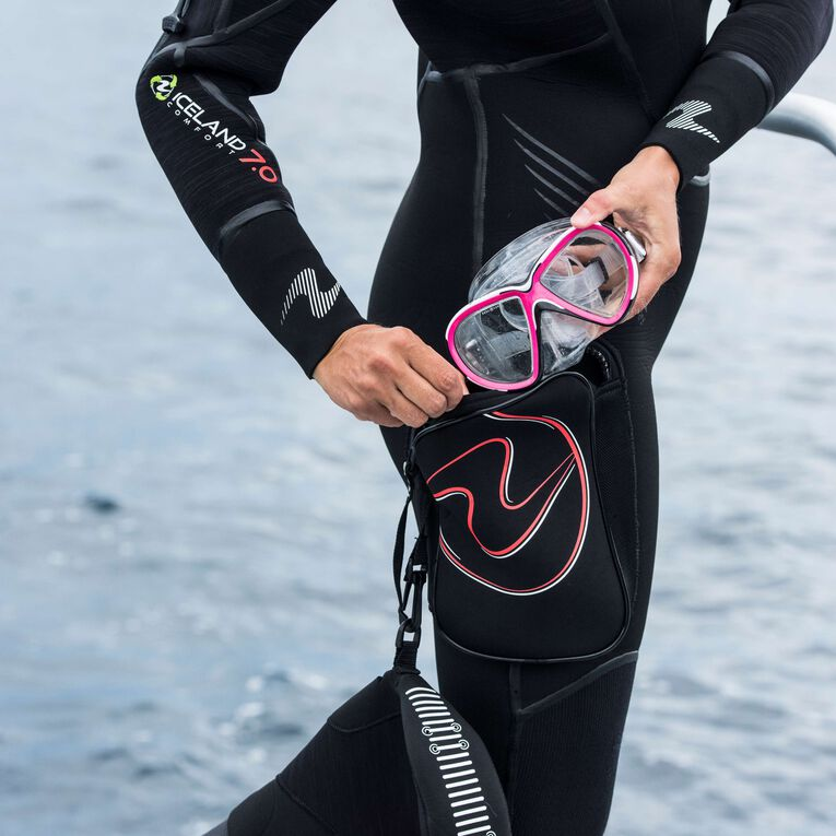 Iceland 7mm Semi Dry Wetsuit Women, Black/Coral, hi-res image number 5