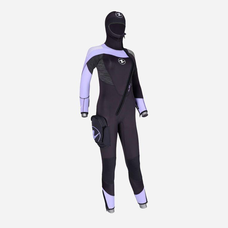 DynaFlex 6.5mm Wetsuit with Hood Women, Black/Purple, hi-res image number 2