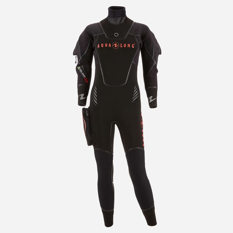 Iceland 7mm Semi Dry Wetsuit Women, Black/Coral, hi-res image number 0