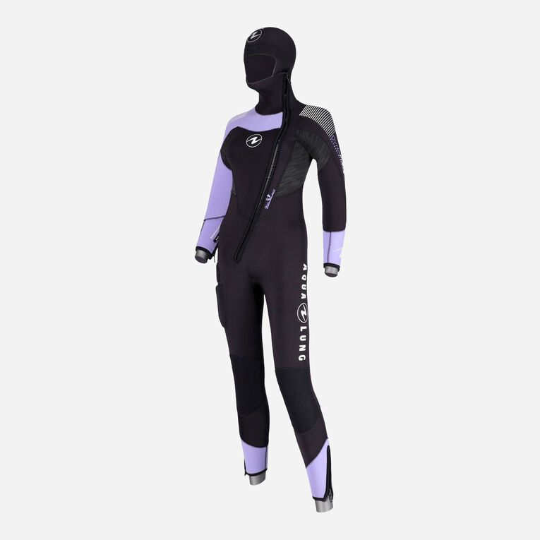 DynaFlex 6.5mm Wetsuit with Hood Women, Black/Purple, hi-res image number 1