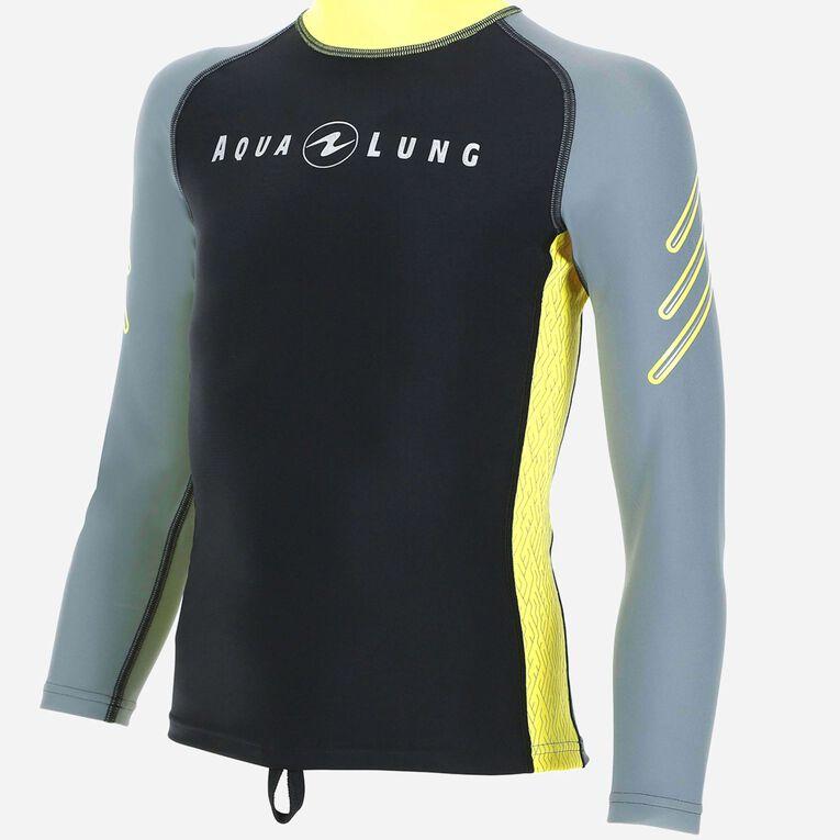 Rashguard Long Sleeves - Junior, Grey/Yellow, hi-res image number 0
