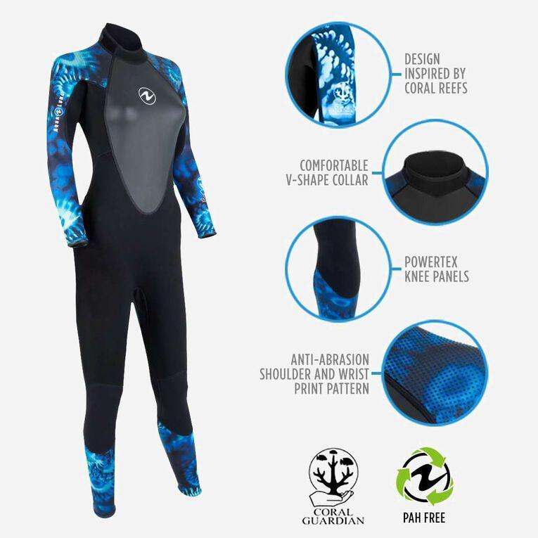 HydroFlex 1mm Coral Guardian Wetsuit Women, Black/Blue, hi-res image number 1