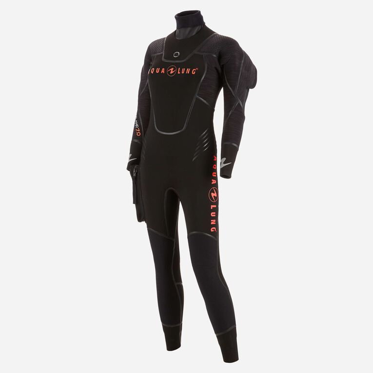 Iceland 7mm Semi Dry Wetsuit Women, Black/Coral, hi-res image number 1